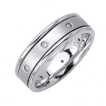 14k Gold 6.5mm Comfort Fit Contemporary Diamond Band 0.16ctw 1233