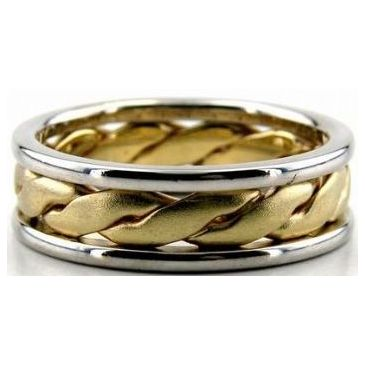 14K Gold Two Tone 6.5mm Handmade Wedding Band Center Braid 008
