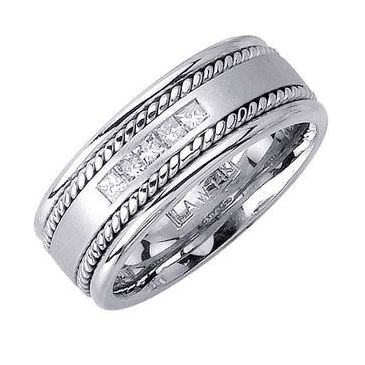Platinum Princess Cut Chanel Set 8mm Comfort Fit Diamond Band 0.25ctw 1160