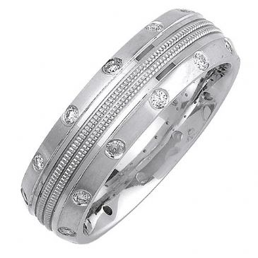 14K Gold Round Brilliant Bezel Set 7mm Comfort Fit Diamond Band 0.24ctw 1174