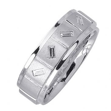 14k Gold Baguette Bezel Set 7mm Comfort Fit Diamond Band 0.36ctw 1201