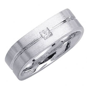 14k Gold Princess Cut Bezel Set 7mm Comfort Fit Diamond Band 0.15ctw 1216