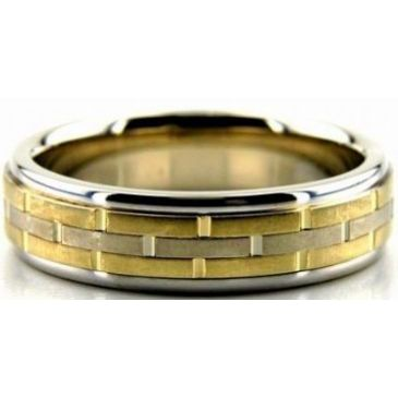 14k Gold Two Tone 6mm Handmade Wedding Band Lane Design 010