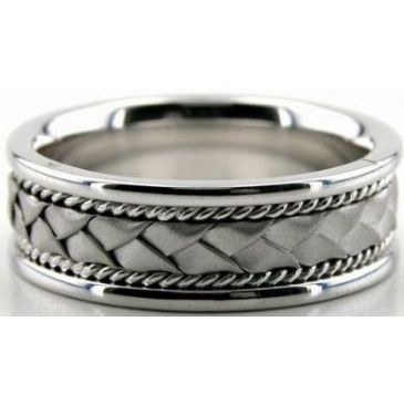 14k White Gold 7mm Handmade Wedding Band Braid and Rope Design 006