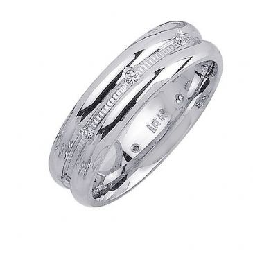 18K Gold 6mm Comfort Fit Contemporary Diamond Band 0.16ctw 1123