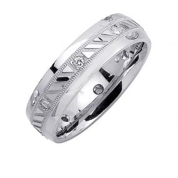 18K Gold 6mm Comfort Fit Contemporary Diamond Band 0.16ctw 1225