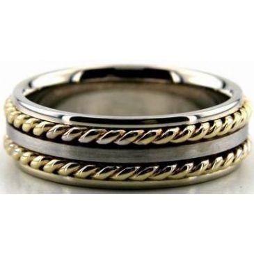 14k Gold Two Tone 7mm Handmade Wedding Band Rope Design 016