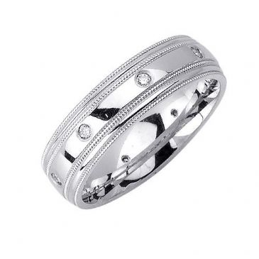 18K Gold 6mm Comfort Fit Contemporary Diamond Band 0.16ctw 1132