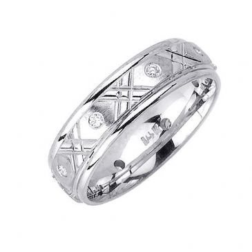 18K Gold 6mm Comfort Fit Contemporary Diamond Band 0.16ctw 1134
