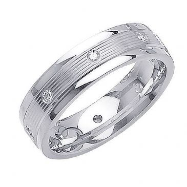 18K Gold 6mm  Comfort Fit Contemporary Diamond Band 0.16ctw 1135