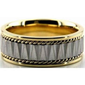 14k Gold Two Tone 8mm Handmade Wedding Band Rope Design 033