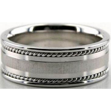 14k White Gold 8mm Handmade Wedding Band Braid Design 031