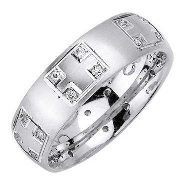 18K Gold Princess Cut Bezel Set 7mm Comfort Fit Diamond Band 1.25ctw 1162