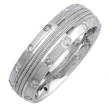 18K Gold Round Brilliant Bezel Set 7mm Comfort Fit Diamond Band 0.24ctw 1174