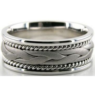 14k White Gold 8mm Handmade Wedding Band Braid Design 038