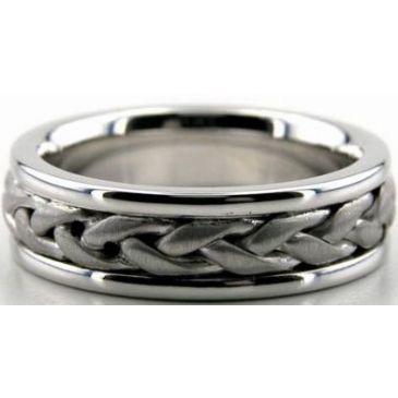 14k White Gold 6.5mm Handmade Wedding Band Braid Design 004