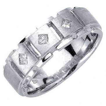 18K Gold Princess Cut Bezel Set 7mm Comfort Fit Diamond Band 0.21ctw 1192