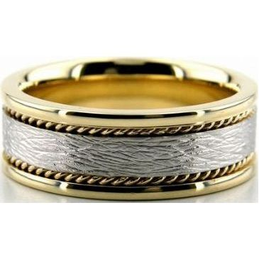 14k Gold Two Tone 8mm Handmade Wedding Band Rope Design 024