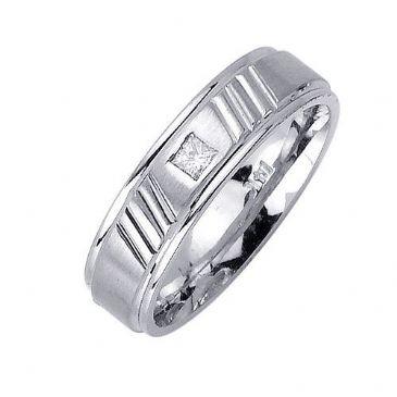 18k Gold Princess Cut Bezel Set 6mm Comfort Fit Diamond Band 0.10ctw 1206