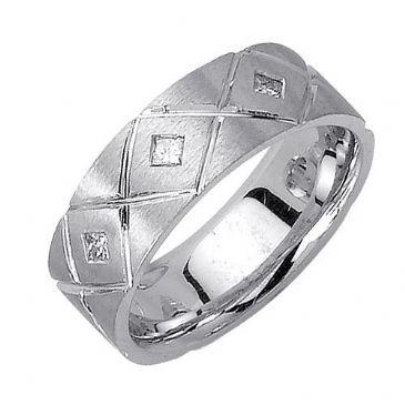 18K Gold Princess Cut Bezel Set 7mm Comfort Fit Diamond Band 0.18ctw 1110