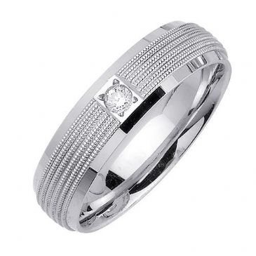 950 Platinum Round Brilliant Bezel Set 6.5mm Comfort Fit Diamond Band 0.08ctw 1108