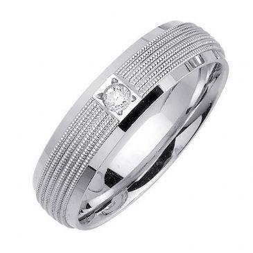950 Platinum Round Brilliant Bezel Set 6.5mm Comfort Fit Diamond Band 0.08ctw 1108