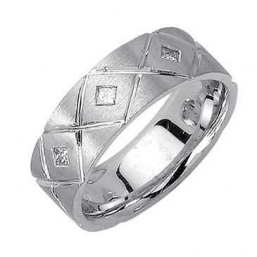 Platinum 7mm Comfort Fit Contemporary Diamond Band 0.18ctw 1110