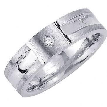 950 Platinum Princess Cut Bezel Set 6.5mm Comfort Fit Diamond Band 0.07ctw 1111