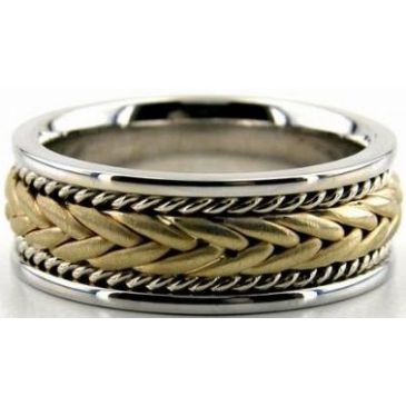 14k Gold Two Tone 8mm Handmade Wedding Band Braid Design 020