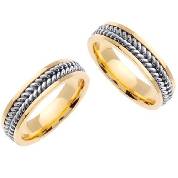 14K Gold 6mm Handmade Two Tone His and Hers Wedding Bands Set 165
