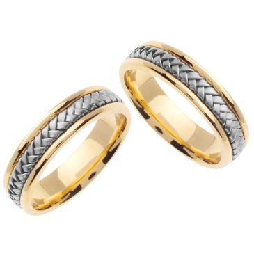 18k Gold 5.5mm Handmade Two Tone His and Hers Wedding Bands Set 167