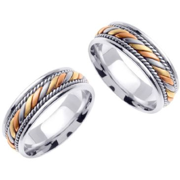14K Gold 7mm Handmade Tri-Color His and Hers Wedding Bands Set 168