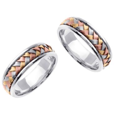 14k Gold 7mm Handmade Tri-Color His and Hers Wedding Bands Set 169