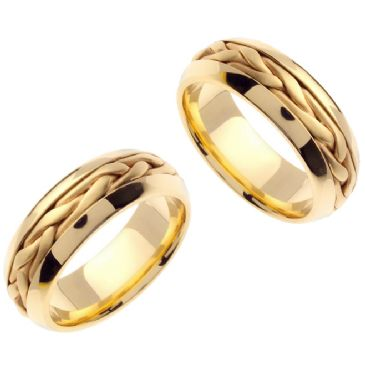 18K Gold 7mm Handmade His and Hers Wedding Wedding Bands Set 171