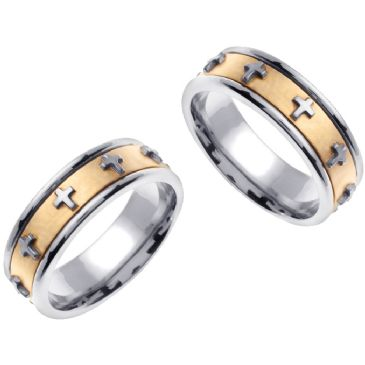18K Gold 7mm Handmade Cross His and Hers Wedding Bands Set 170