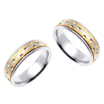 950 Platinum & 18K Gold 6.5mm Handmade Two Tone Diamond Cut Brick Pattern Wedding Bands Set 174