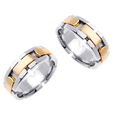 18k Gold 8mm Handmade Two Tone His and Hers Wedding Bands Set 178