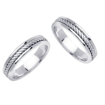 18k Gold 5mm Handmade Braid His & Hers Wedding Rings Set 175