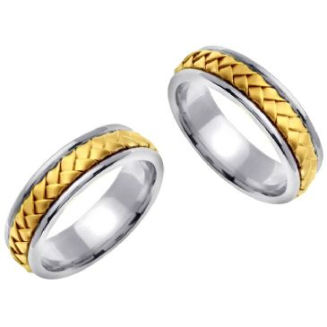 950 Platinum & 18K Gold 7mm Handmade His and Hers Yellow Gold Braid Wedding Rings Set 176