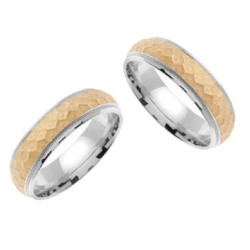 14k Gold 7mm Handmade Two Tone His & Hers Wedding Rings Set 179