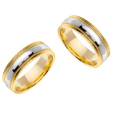 14k Gold 7mm Handmade Two Tone His and Hers Wedding Bands Set 180