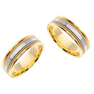 14k Gold 7mm Handmade His and Hers Two Tone Wedding Bands Set 183