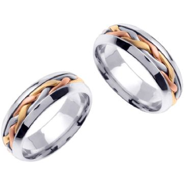 14K Gold 7mm Handmade Tri-Color Braid His and Hers Wedding Bands Set 184