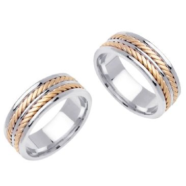 14K Gold 8mm Handmade Double Braid His and Hers Wedding Band Set 185