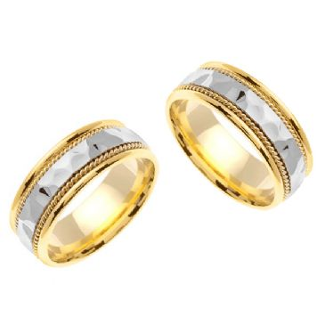 18k Gold 7.5mm Handmade Two Tone Hammered His and Hers Wedding Bands Set 186