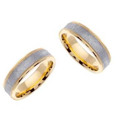 18k Gold 6mm Handmade Two Tone His & Hers Wedding Rings Set 187