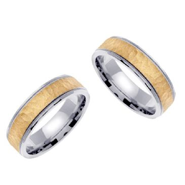 18k Gold 6mm Handmade Two Tone His and Hers Wedding Bands Set 188