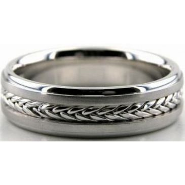 18k White Gold 6mm Handmade Wedding Band Braid Design 007