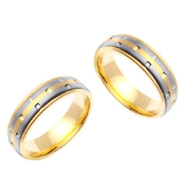 950 Platinum and 18k Gold 6.5mm Handmade Two Tone Diamond Cut His and Hers Wedding Bands Set 191