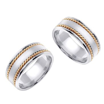 950 Platinum and 18k Gold 8mm Handmade Two Tone His and Hers Wedding Bands Set 192